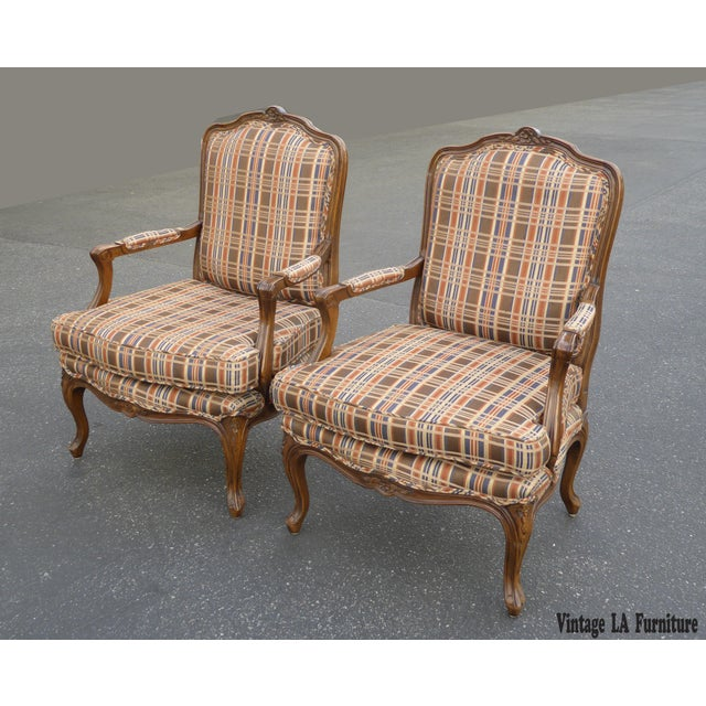Vintage French Country Carved Wood Brown Orange Plaid Chairs - A Pair - Image 3 of 10