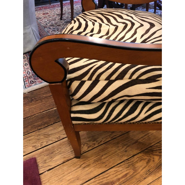Wood 1980s Vintage Printed Zebra Cowhide Upholstery Chair For Sale - Image 7 of 9