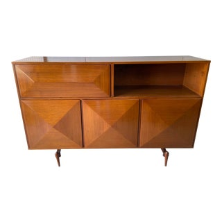 Mid-Century Modern Custom Dry-Bar Credenza With Record Player & Radio For Sale