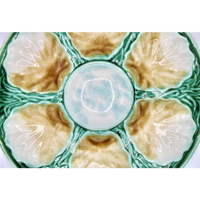 Green Art Deco French Ceramic Oyster Plate For Sale - Image 8 of 10