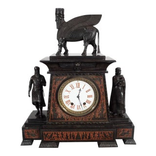 Magnificent Bronze-Mounted and Marble Mantel Clock in the Assyrian Revival Style For Sale