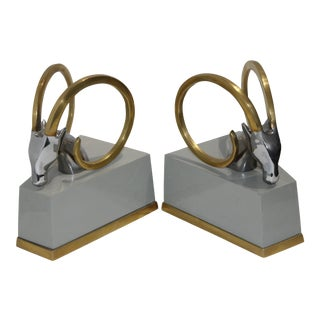 Art Deco Revival Gazelle Brass & Wood Bookends - a Pair For Sale