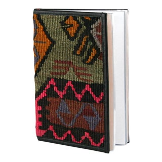 Rug & Relic Kilim Journal | Kilim Diary in Fuschia, Celedon Green, Lavender and Mustard Yellow For Sale