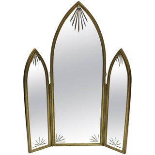 French Art Deco Bronze With Etched Glass Tri-Fold Mirror For Sale