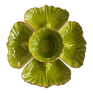 1970s Round Green 5 Piece Lettuce Motif Chip and Dip Platter With Gold Edges For Sale