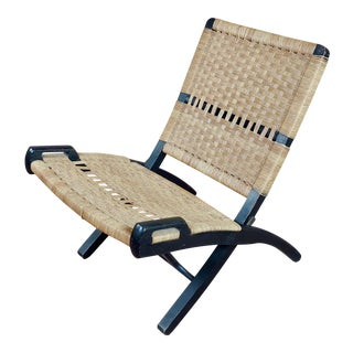 Vintage Hans Wegner Woven Rope Folding Chair For Sale