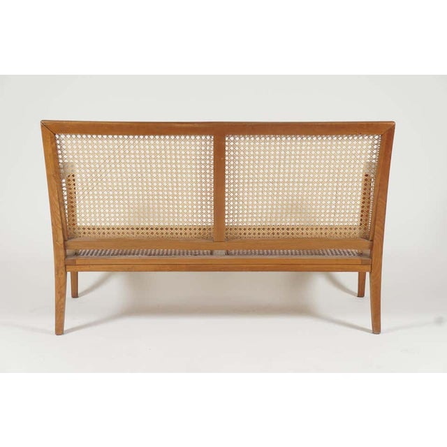 Brown 1940s French 'Art Moderne' Wood Frame & Cane Settee Loveseat with Horsehair Cushions Manner of Corbusier/ Jeanneret For Sale - Image 8 of 12