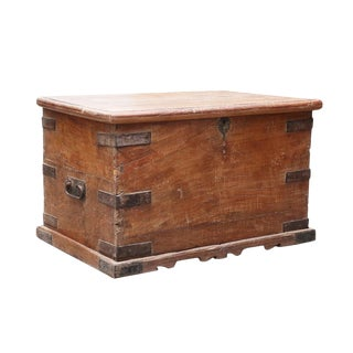 Antique Wood Trunk For Sale