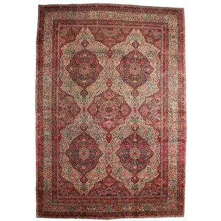 "RugsinDallas Antique Hand Knotted Wool Persian Kerman Rug - 13'10"" X 19'10"" For Sale"
