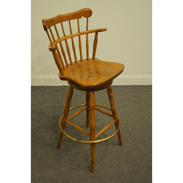 American Late 20th Century S Bent Bros. Gardener Solid Maple Swivel Bar Stool For Sale - Image 3 of 13
