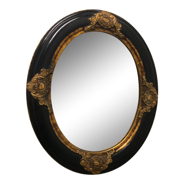 Beveled Black & Gilded Mirror - Image 1 of 8