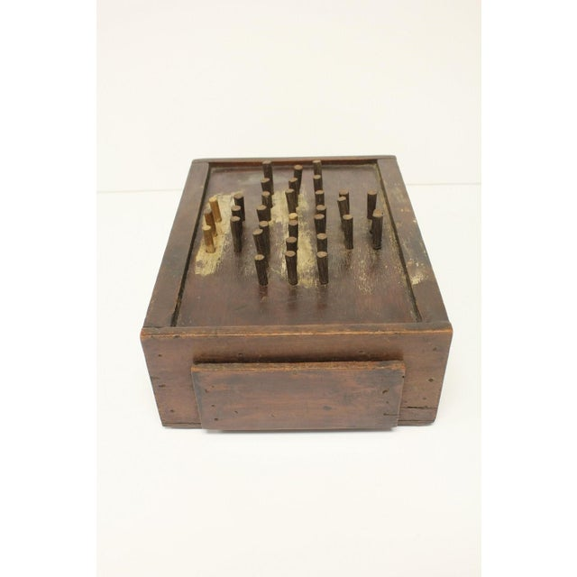 Folk Art Early 20th C. Antique Folk Art Aggravation Wooden Box Peg Board Game For Sale - Image 3 of 3