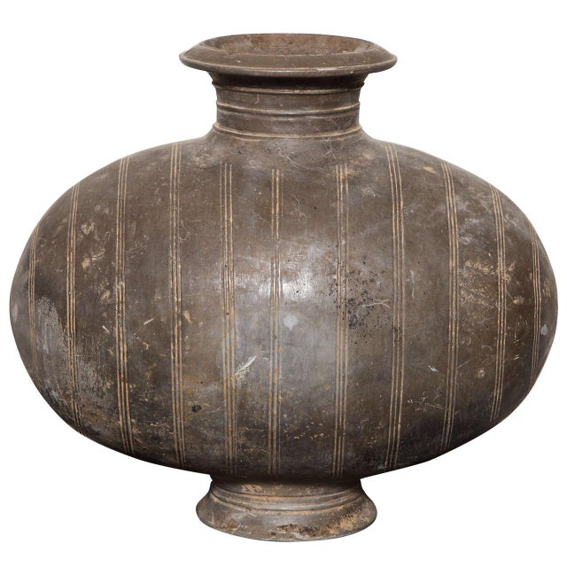 Brown Western Han Dynasty Terracotta Cocoon Jar with Incised Bands from China For Sale - Image 8 of 8