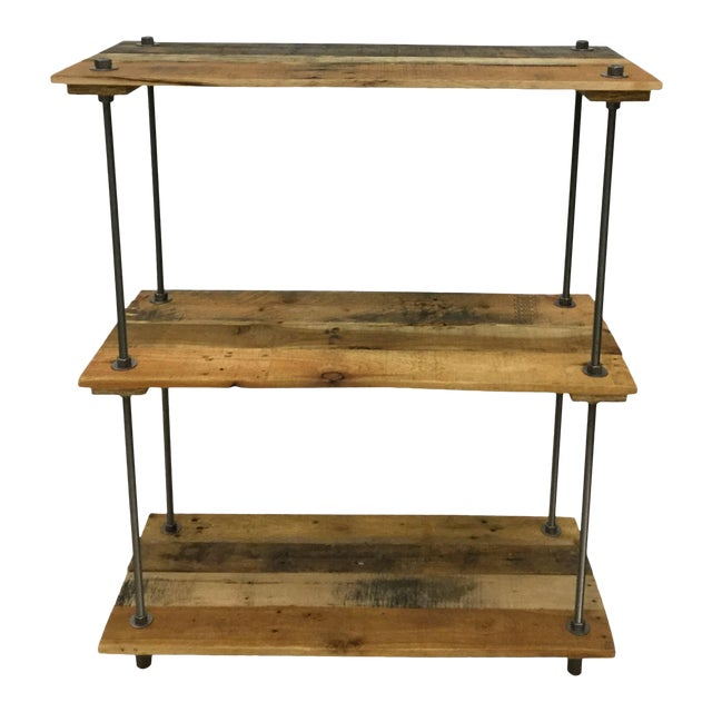 Adjustable Height Industrial Style 3-Shelf Pallet Wood Bookcase For Sale