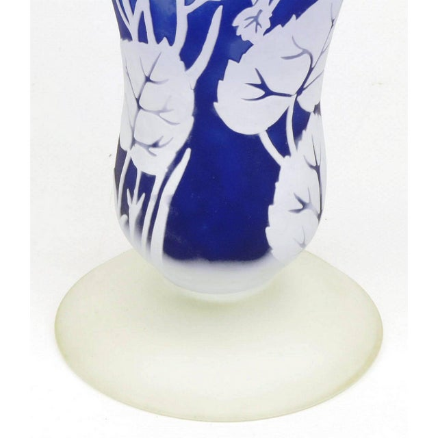 Shannon Crystal of Ireland Mouth Blown Blue Cut Art Glass Vase For Sale In Chicago - Image 6 of 8