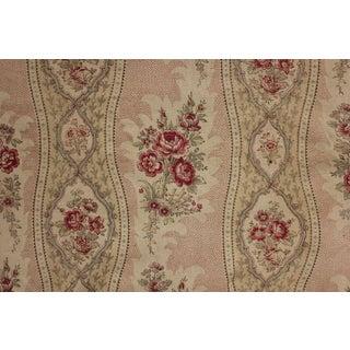 Antique Curtain Biedermeier Look Antique French Drape Faded Floral Linen Fabric For Sale