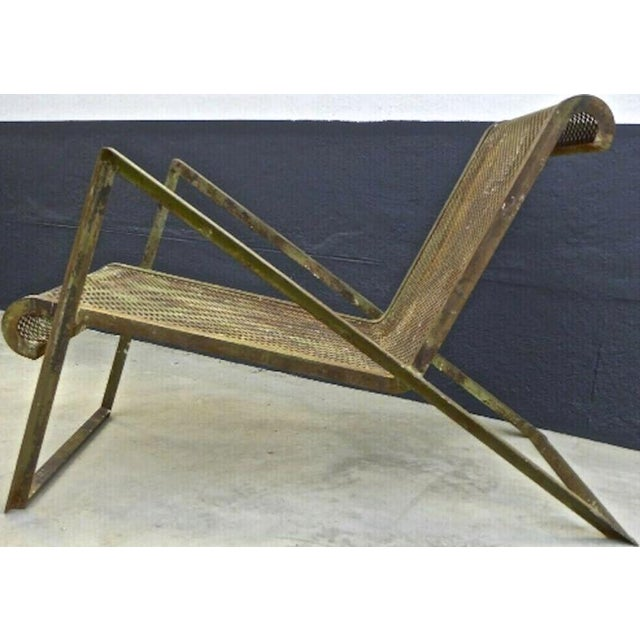 Jean Royère Jean Royere Early Rarest Documented Perforated Iron Lounge Chair For Sale - Image 4 of 12