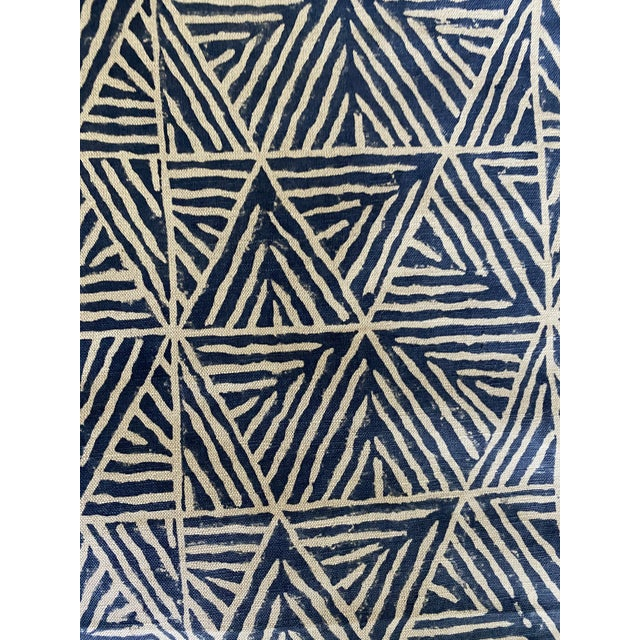 Abstract 3 Yards of Thibaut Mombasa Linen Fabric For Sale - Image 3 of 5