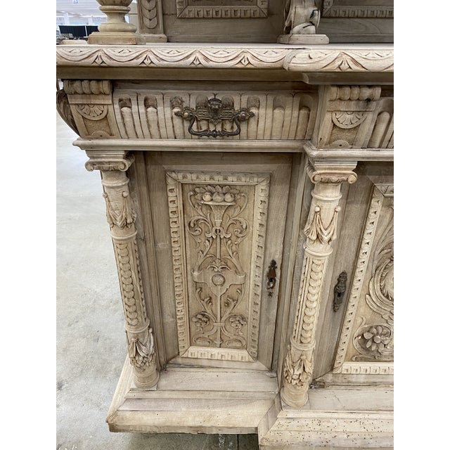 19th Century French Renaissance Bleached Walnut Cabinet For Sale - Image 9 of 13