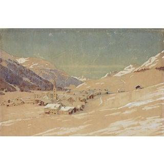 1950s Vintage Winter Alpine Village Watercolor Painting For Sale