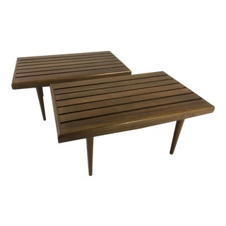 Danish Modern Slat End Tables - a Pair For Sale