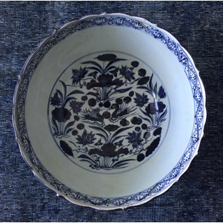 "Chinese Blue & White 16""Oversized Centerpiece Bowl-Signed Preview"