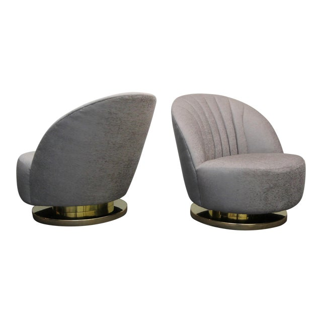 Mid Century Swivel Slipper Chairs with Brass Bases by Milo Baughman for Thayer Coggin - a Pair - Image 1 of 7