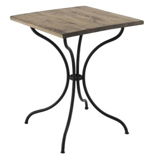 New Square French Style Iron Base Table With Wood Top, Garden Table,Bistro Table For Sale