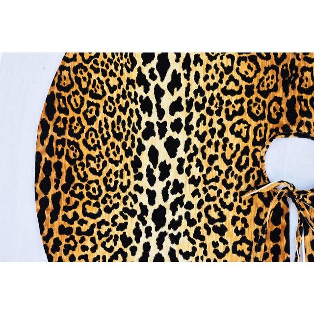 """Contemporary X-Large 55"""" Custom-Tailored Leopard Velvet Christmas Tree Skirt For Sale - Image 3 of 10"""