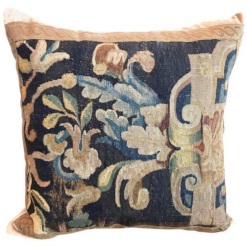 17th Century 17th Century Tapestry Fragment Pillow For Sale - Image 5 of 5