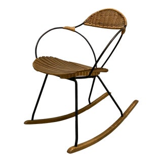 1950s Vintage Arthur Umanoff Rattan and Iron Rocking Chair For Sale