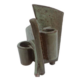 Vintage Abstract Studio Pottery Candle Holder