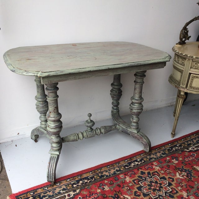 Shabby Chic Gray Breakfast Table For Sale In Atlanta - Image 6 of 8