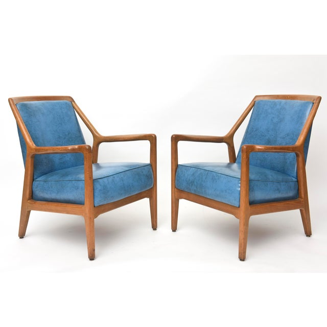 Illustration Pair of Italian Modern Walnut Armchairs, Carlo de Carli For Sale - Image 3 of 11