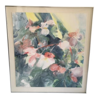 Oversized Begonia Watercolor Painting For Sale