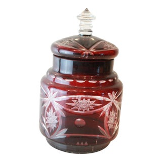 Vintage Red Cut Glass Jar For Sale
