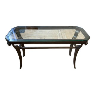 Contemporary Glass + Bronze Finish Console Table For Sale