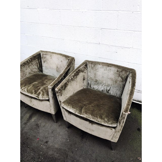 Bernhardt Bernhardt Furniture Co. Contemporary Club Chairs in Original Sage Crushed Velvet - a Pair For Sale - Image 4 of 12