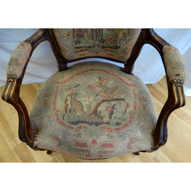 French Needlepoint Armchair - Image 4 of 5