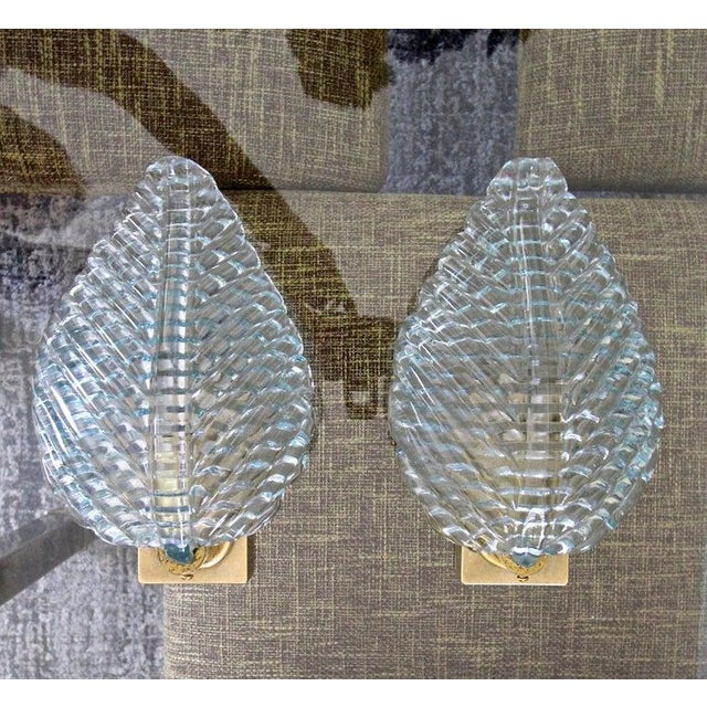 1950s Barovier Murano Aqua Blue Leaf Glass Wall Sconces - a Pair For Sale - Image 11 of 12