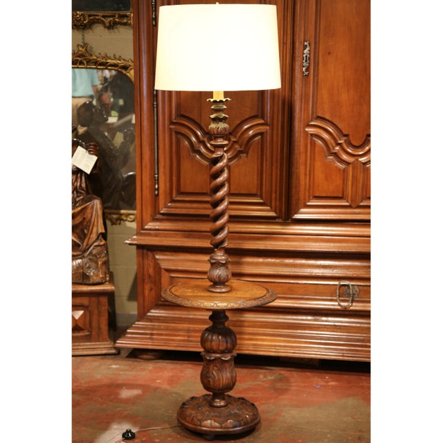 Early 20th century french carved and barley twist floor lamp with early 20th century french carved and barley twist floor lamp with attached table image 9 mozeypictures Images