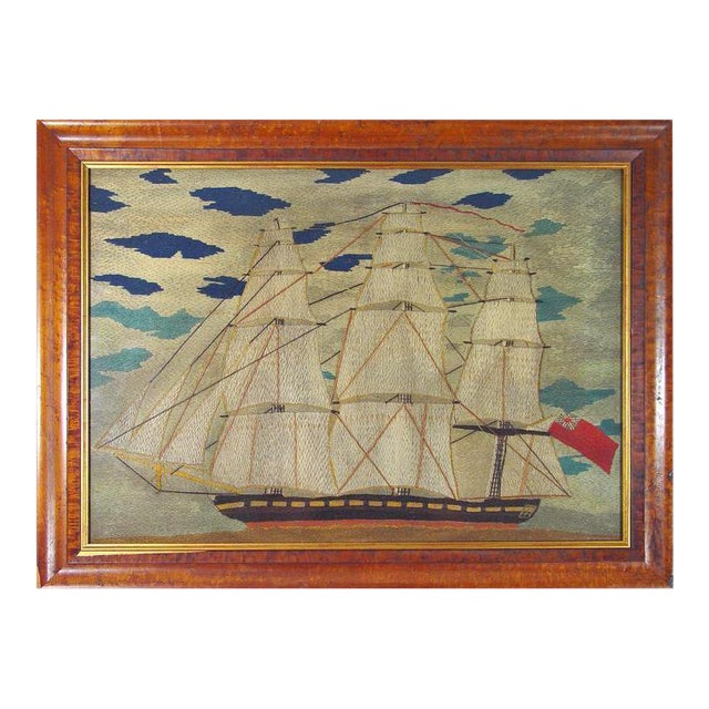 Sailor's Woolwork Woolie Large Picture of a Ship, Circa 1855-1865. For Sale
