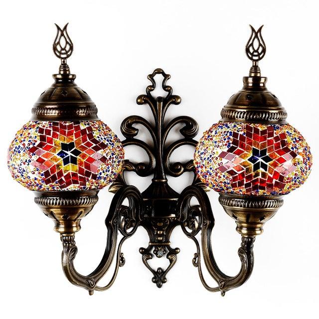 Turkish Handmade Mosaic Double Wall Sconce - Image 2 of 9