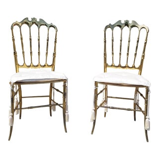 1960s Vintage Chiavari Brass Chairs- a Pair For Sale