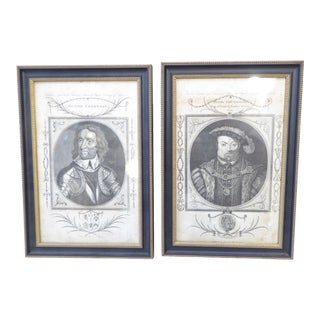 18th Century English Framed Engravings of Henry VIII & Cromwell - a Pair For Sale