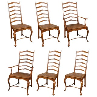Ladder Back Dining Chairs - Set of 6 For Sale