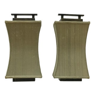 Asian Pagoda Style Fusion Coupe Dupioni Silk Wall Sconces - a Pair For Sale