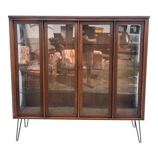 Mid Century Kent Coffey Perspecta Display Cabinet on Hairpin Legs For Sale