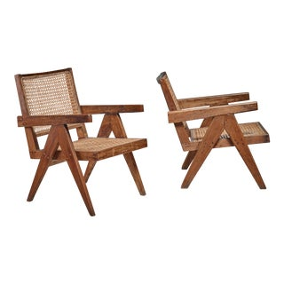 Pierre Jeanneret pair of Chandigarh High Court easy chairs, 1950s For Sale