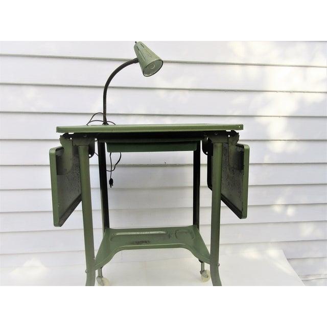Industrial Rolling Cart Typewriter Metal Table Chairish